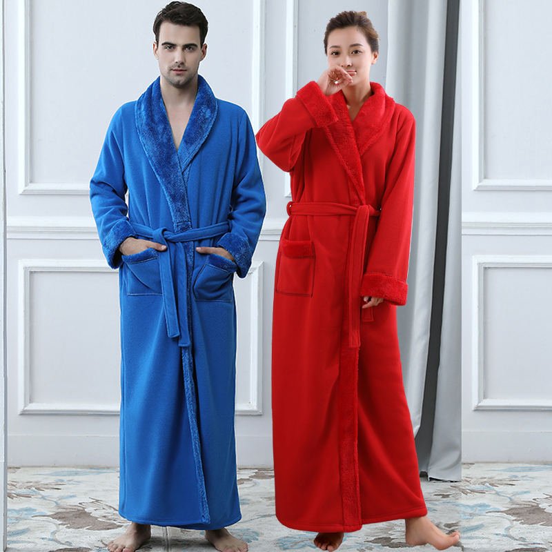 Men Women Thickening Fleece Thermal Extra Long Bathrobe Mens Plus ...