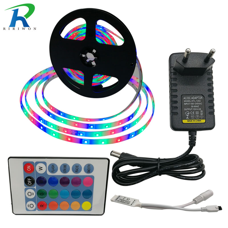 RiRi won RGB SMD2835 LED Strip Light Waterproof led tape diode flexible ribbon 24Keys Controller AC 110 240V DC 12V Adapter Set