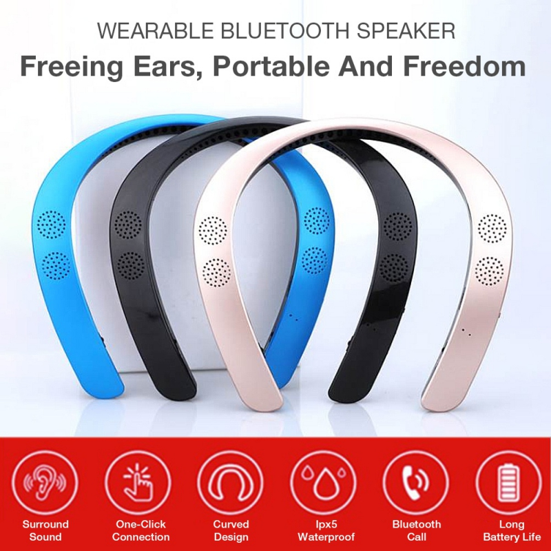 2019 New Version 5.0 Wearable Neckband Wireless Stereo Ear Headphone Personal Speaker Bluetooth Speaker MP3 Palyer Headset