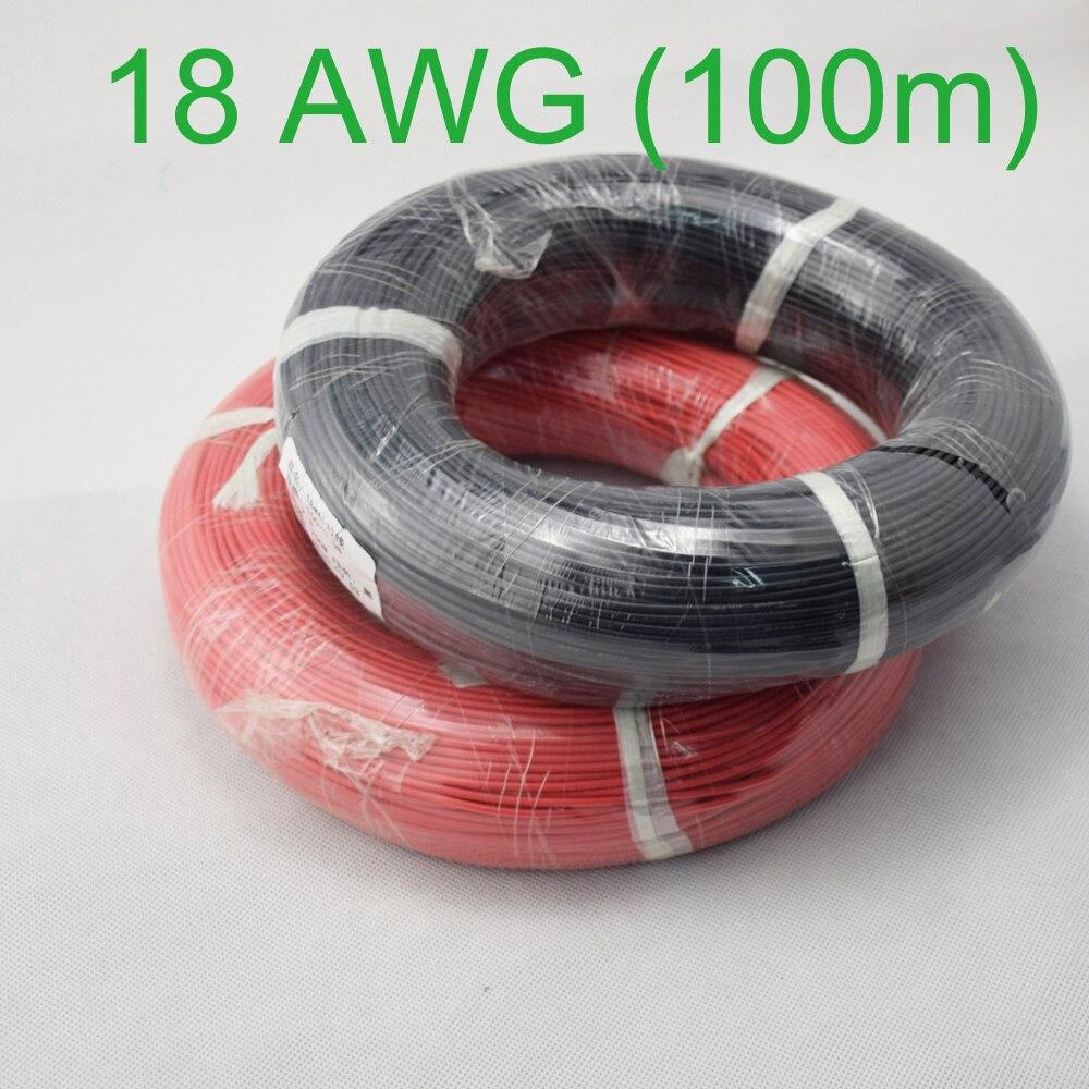 100 m 18 AWG Bitola do Fio de Silicone Flexível de Fiação de Cabos de Cobre Trançado para RC