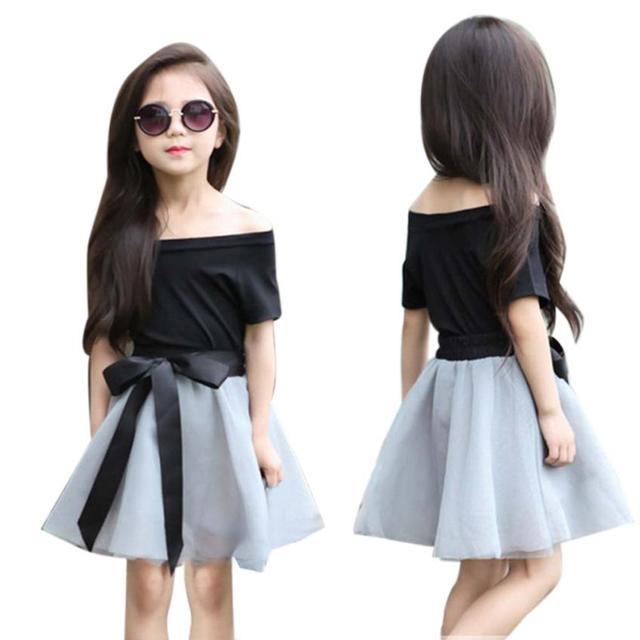 9d6234025b54a8 Kids Clothes Hot Selling Toddler Kids Baby Girl T-shirt Tops+Bowknot Short  Skirt Outfits Clothes 2PCS Set meisjes kleding