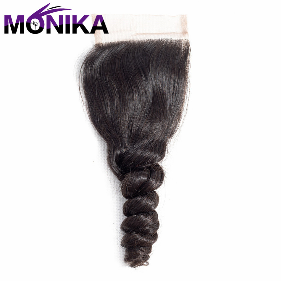 Monika Malaysia Closure Loose Wave 4*4 Size Non Remy Hair Pre Plucked Natural Hairline With Baby Hair Shipping