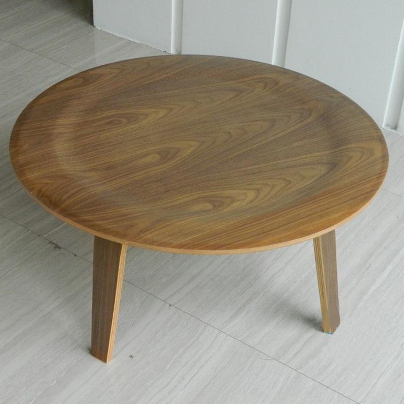 Mesa redonda de contrachapado Mesa de centro de madera de nogal DIA86 - Mueble - foto 2
