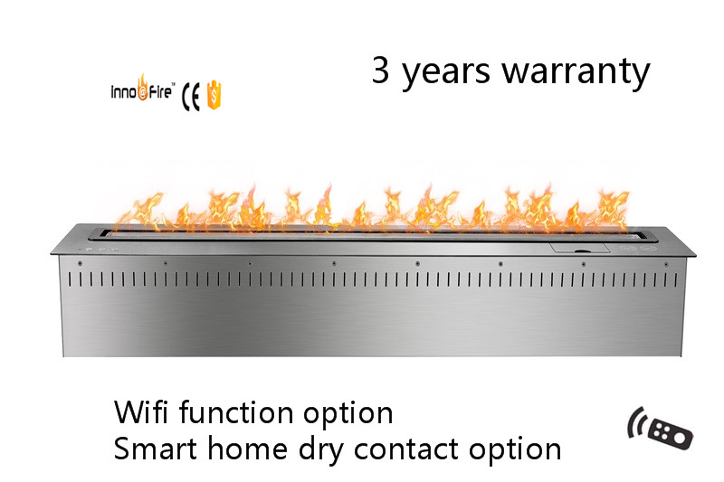 48 Inch Long  Silver Or Black  Emote Control Intelligent Smart Ethanol Metal Box Fireplace