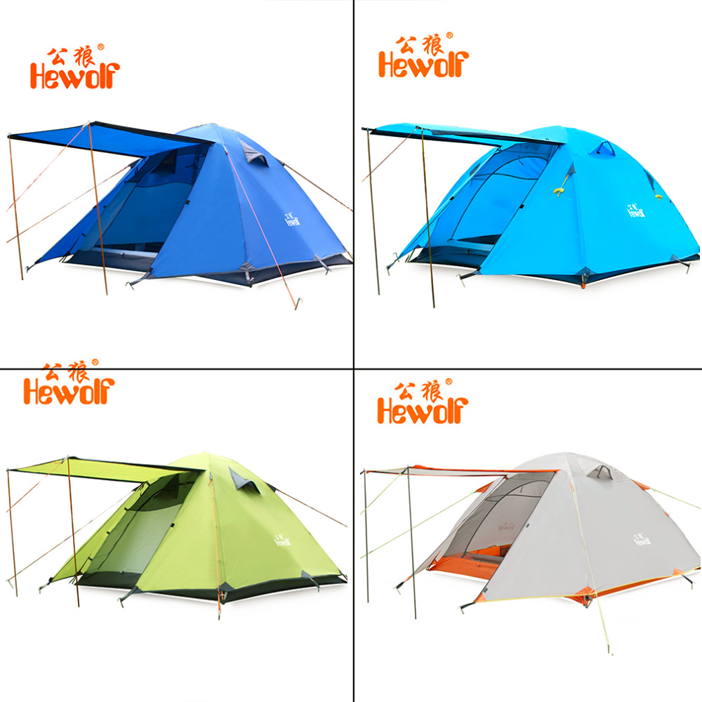 Double Layer 3 4 Person Tents Rainproof Waterproof Outdoor Camping Tent Tourist Tent For Hunting Picnic Party Hiking Camping New waterproof tourist tents 2 person outdoor camping equipment double layer dome aluminum pole camping tent with snow skirt