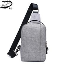 FengDong male canvas sling chest bag small crossbody bags for men one shoulder messenger bag pack dropshipping 2018 boy usb bag(China)