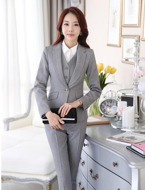 Pantsuits Ladies Escritório Uniforme Estilo Formal Das Mulheres de Negócio Trabalho Ternos Com Conjuntos de Roupas Blazers E Calças Femininas