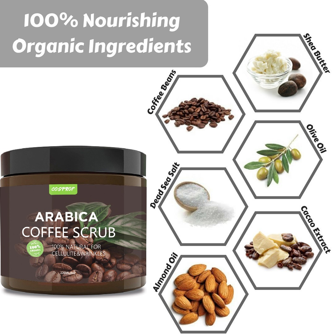 Coffee Body Scrub +Massage Brush Set Cream Facial Dead Sea Salt Exfoliating Whitening Moisturizing Anti Cellulite Treatment Acne 2