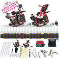 Complete Beginer Tattoo Kit 2 Machine Guns 20 Color Inks Power Supply Set D175-1