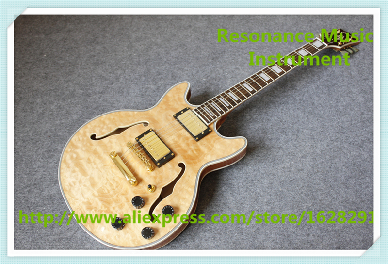 Hot Selling Nature Wood Quilted Finish ES 335 Electric Guitar Hollow Maple Guitar Body As Pictures china oem firehawk shop guitar hot selling tl electric guitar stained maple tiger stripes maple wood color