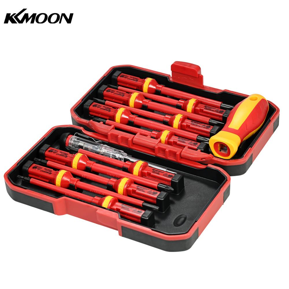 KKmoon 13pcs Insulated Screwdriver Set Microtech Phillips Slotted Torx Screwdriver 1000V Magnetic CR-V Multitul Hand Tools bosi tools of cr v set of 5pcs percussive drilling w screwdriver heads page 9
