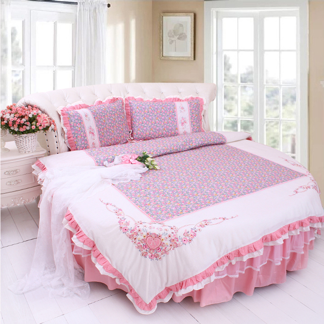 Small Flower ROUND Bedding Sets SUPER King Queen Size Round Bed Cotton  Princess Pink Duvet Cover