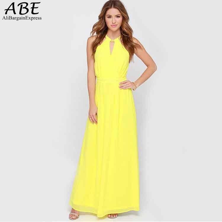 Popular Long Yellow Maxi Dress-Buy Cheap Long Yellow Maxi Dress ...
