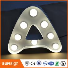 Żarówka ze stali nierdzewnej znak literowy led outlet reklama zewnętrzna numer listu i dowolny inny kształt symbolu tanie tanio shsuosai ss-28