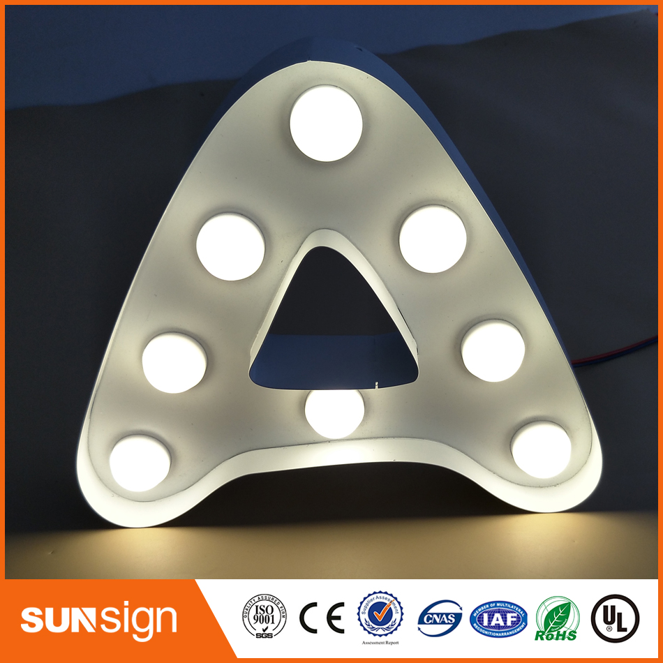 Light Bulb Stainless Steel Led Letter Sign Outlet Outdoor Advertising Number Letter And Any Other Symbol Shape