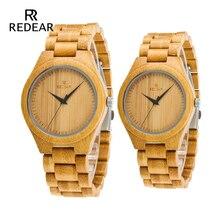 REDEAR Bamboo Lover's Klockor Timepieces Wood Band Quartz Armbandsur för Loverens Relogio feminino Gratis frakt