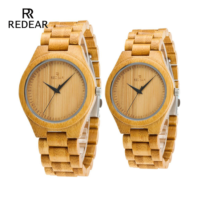 REDEAR Free Shipping Natural Color Bamboo Lover's Watch Men Luxury Wood Band Qua