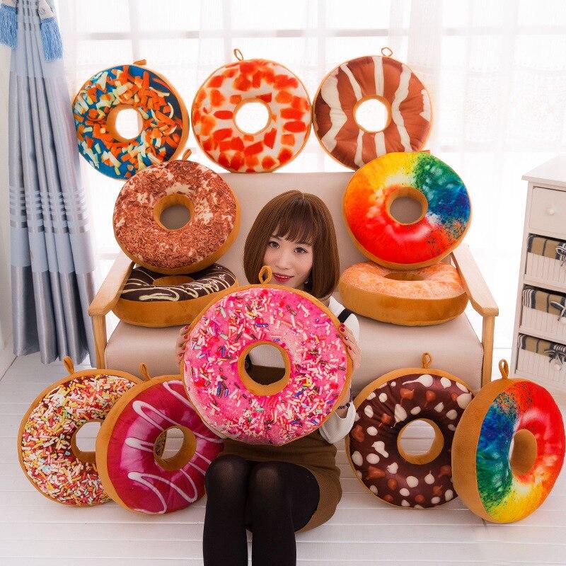 New Plush Soft Donut Doughnut Food Back Cushion Pillow Saddle Car Set Kids Gift