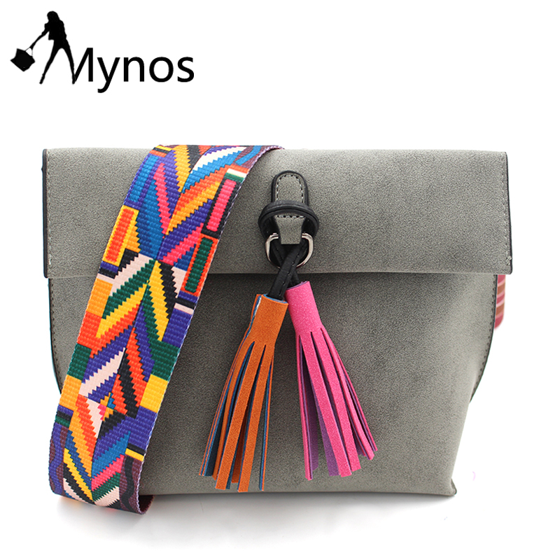 Mynos Women Solid Color Tassel Crossbody Bag Female Designer Shoulder Bags Lady Vintage Messenger Bag Purse Bolsas Feminina Sac