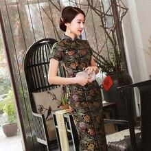 Новые летние черные элегантные атласные Винтаж сексуальная Cheongsam воротник-стойка короткий рукав Новинка печати тонкая длинное платье S-3XL J0024