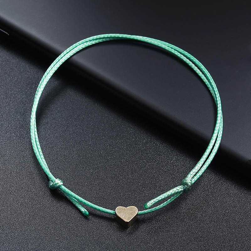 New DIY Adjustable Rope Anklets for Women Love Heart Foot Chain Personality Ladies Ankle Bracelets Jewelry in Anklets from Jewelry Accessories