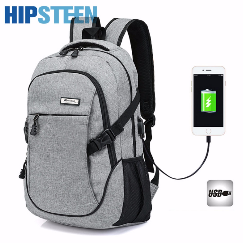 HIPSTEEN Casual Male Travel Backpacks With Large Capacity Shoulders Bags Oxford Cloth Men Backpack School Bag USB Charging Port