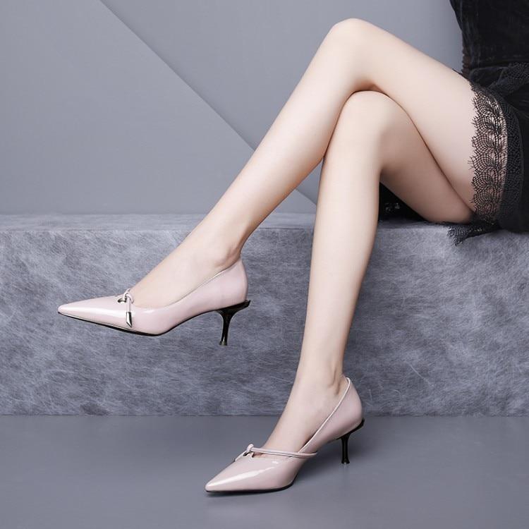 Otoño Slip Fino Cuero Rosa Mljuese Boda En Black pink Zapatos De Tacón 2019 Mujeres Alto Estilo Bombas Roma Color Primavera Dama qYqOSPtw