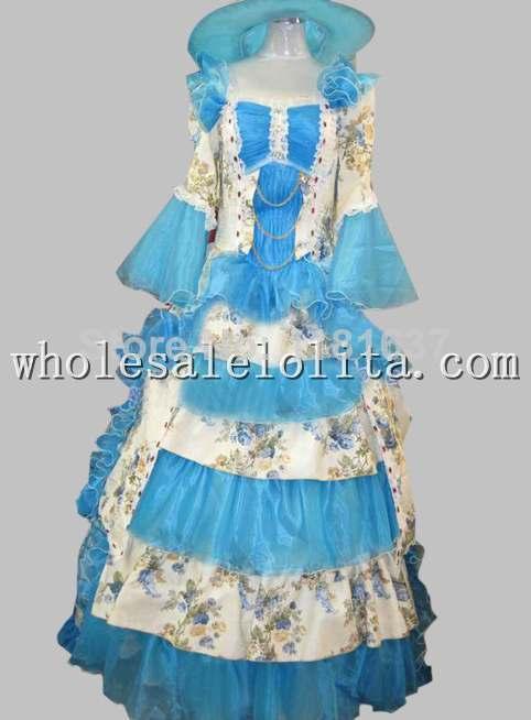 17 18e Eeuw Blauw Bloemen Rococo Marie Antoinette Europese Hof Jurk Stadium Kostuum Cosplay Kostuum
