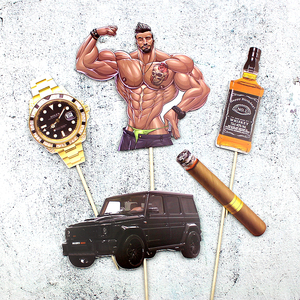 Image 2 - Pack of 5 Muscle Man Car Cake Toppers Picks Cupcake Topper for Boy Man Birthday Cake Decorations Birthday Party Decor Supplies