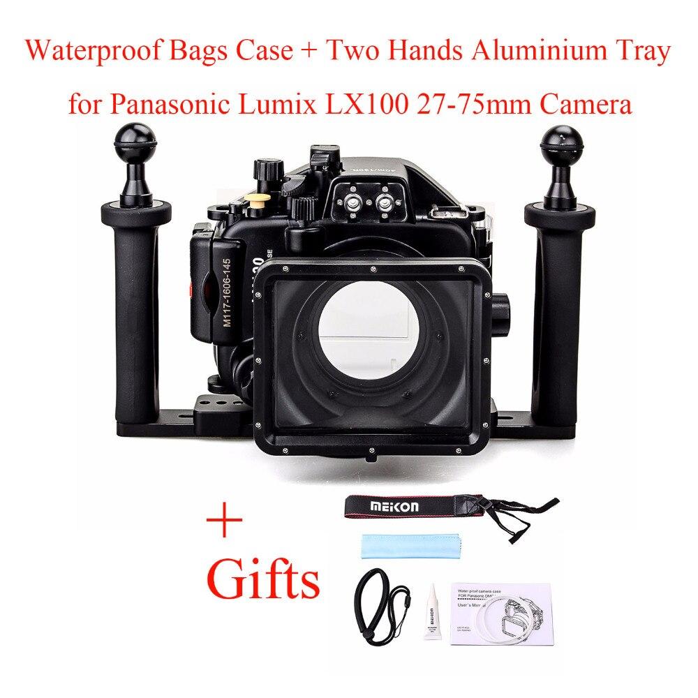 Meikon 40 M/130ft Underwater Caso Caixa Da Câmera para Panasonic Lumix LX100 com 27-75mm Lens, Sacos Caso à prova d' água + Bandeja de Duas Mãos