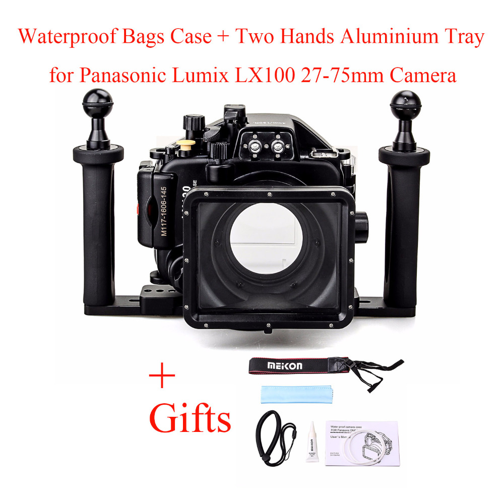Meikon 40M/130ft Underwater Camera Housing <font><b>Case</b></font> for Panasonic <font><b>Lumix</b></font> <font><b>LX100</b></font> with 27-75mm Lens,Waterproof Bags <font><b>Case</b></font> +Two Hands Tray image