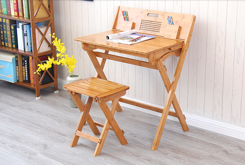 Modern Bamboo Computer Desk Folding Table Bamboo Furniture Children Study  Desk For Kids Foldable Compact Bamboo