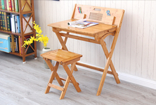 Modern Bamboo Computer Desk Folding Table Bamboo Furniture Children Study Desk For Kids Foldable Compact Bamboo Laptop Table