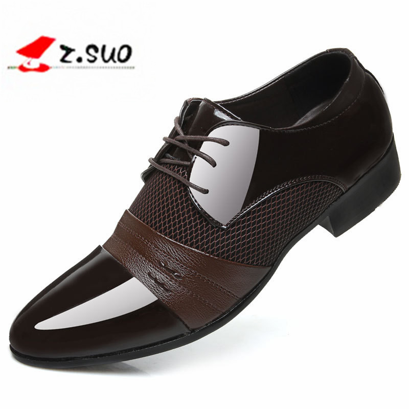 2017 Classical Wedding Flat Shoes Men Dress Luxury Men'S Business Oxfords Casual Shoe Black / Brown Leather Derby Shoes