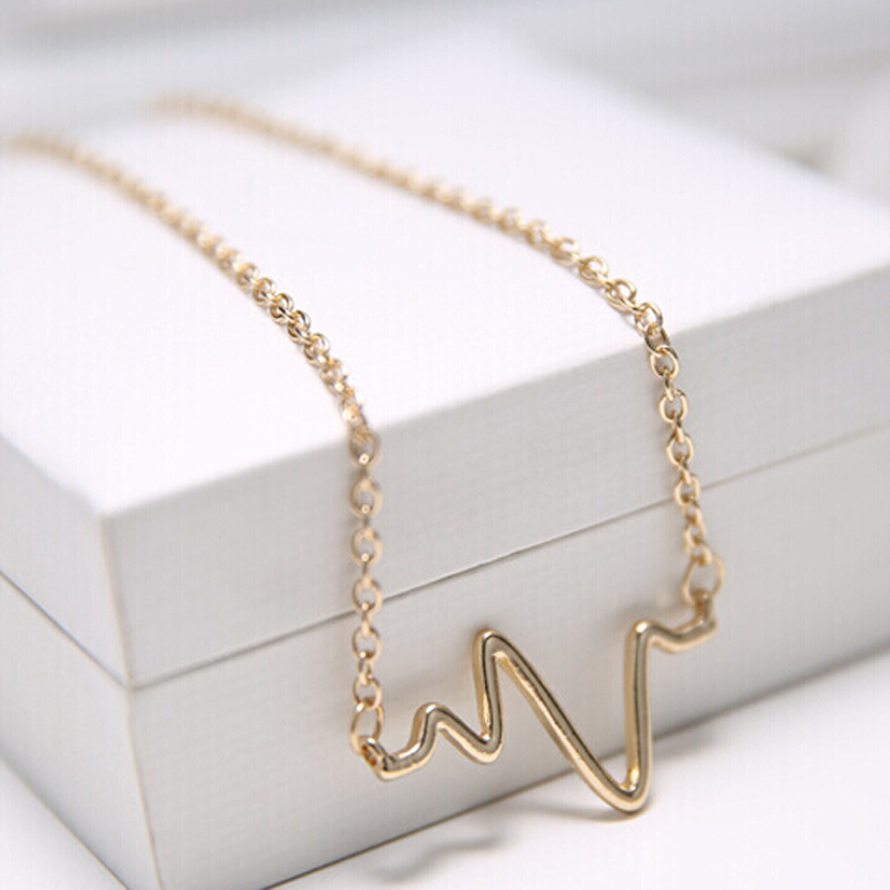 Small Wave Electrocardiogram Sweet Contracted Special Version Paragraph Collarbone Gold Silver Plated Chain Necklace N178 N179