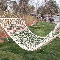Single Mesh Cotton Wood Stick Cotton Rope Swing Hammock Indoor Double Hammock Net Camping Furniture Moveis Parachute 1pcs