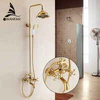 Free Shipping Promotion Luxury Wall Mounted Golden Finish Shower Faucet Set Rain Shower Tub Mixer Tap