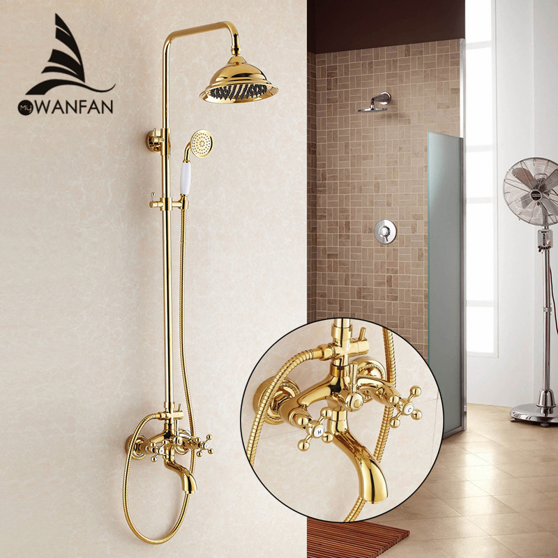 Shower Faucet Wall Mount Brass Luxury Gold Bathtub Faucet Round Rain Shower Head Handheld Bar Bathroom Mixer Tap Set HJ-3009K-A china sanitary ware chrome wall mount thermostatic water tap water saver thermostatic shower faucet
