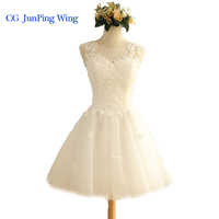 In Stock New White Short Wedding Dress Brides Beautiful Lace Wedding Dress Bridal Gown Vestido De