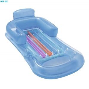 Image 4 - Yaz yüzme şişme yüzen yatak havuz şezlong su yüzen satır arkalığı Recliner kol dayama ile bardak tutucu yetişkin için