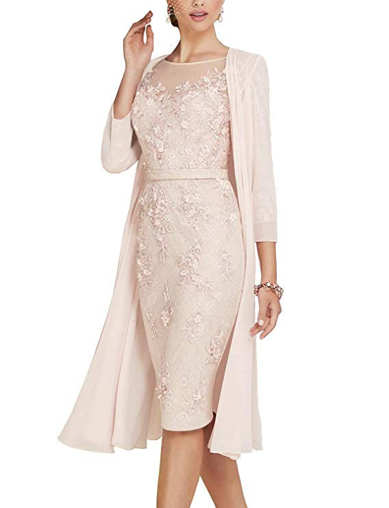 2019 Elegant Lace With Chiffon Tea Length 3 4 Sleeve Mother Of The Bride Dress Plus