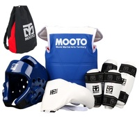 6PCS MOOTO Taekwondo Protectors full set guards chest guards Children adult Forearm shin protector groin guard Taekwondo helmet