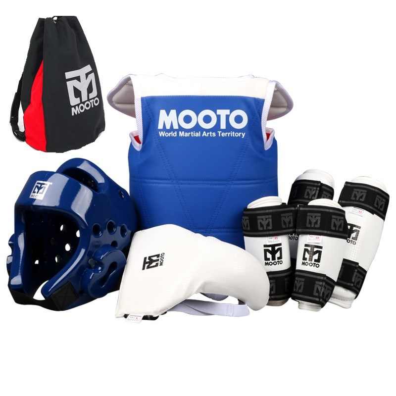 6PCS MOOTO Taekwondo Protectors full set guards chest guards Children adult Forearm shin protector groin guard Taekwondo helmet