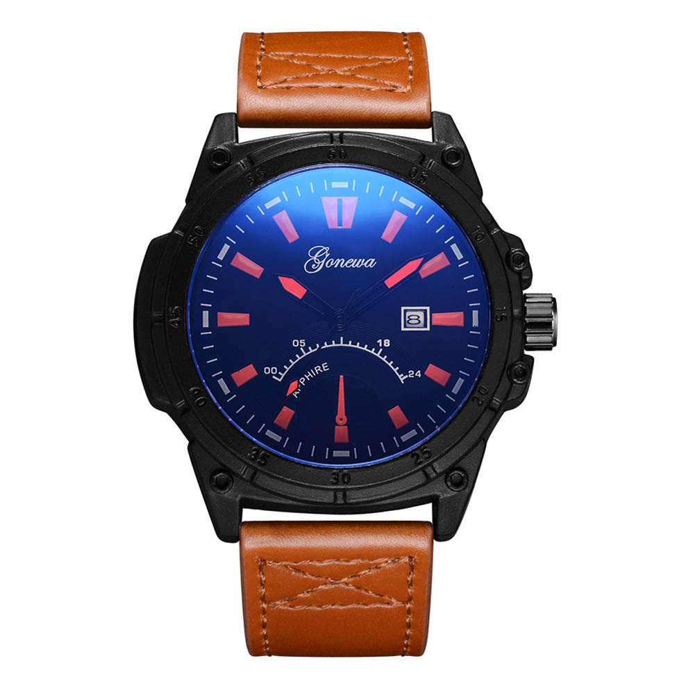 NEW Fashion Men Sports Business Quartz Watch PU Leather Strap Round Dial Analog Clock Wristwatch Gifts High Quality LL@17 men s fashion brand quartz watch big dial silicone watches male high quality business leisure sports gift wristwatch new hour