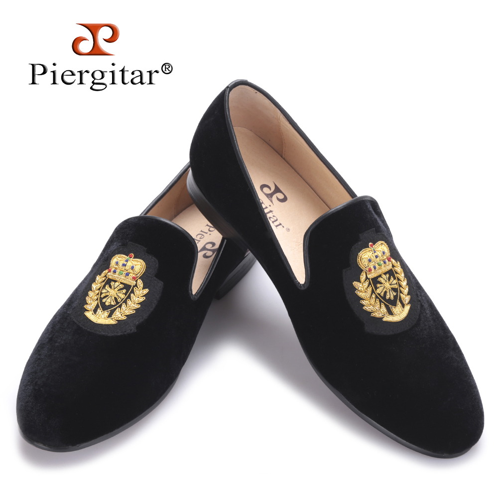 Piergitar 2016 new India handmade luxurious embroidery men velvet shoes Men dress shoes Banquet and Prom male Plus size loafers пластиковые щипцы tony and india sm 22 150mm