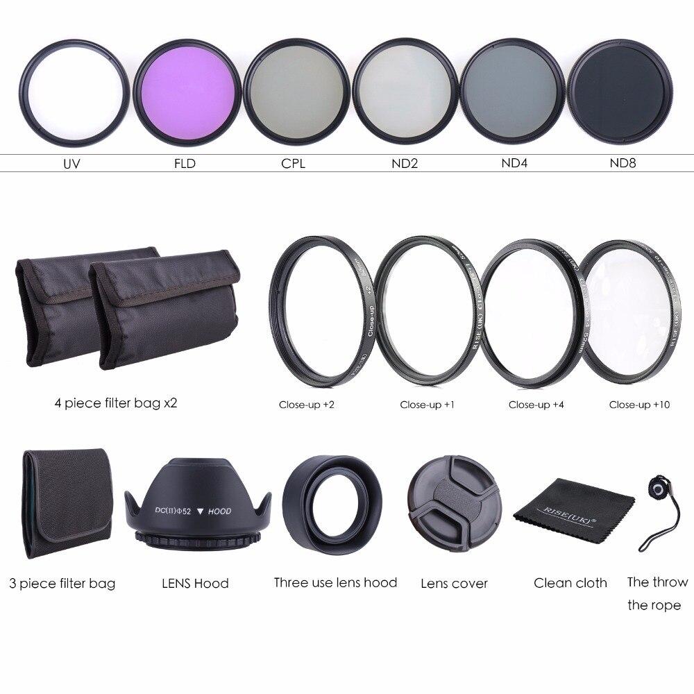 2 hot Shoe+Cloth Lens Cap line Cap Cover ND UV CPL Filter 7 in1 49 52 55 58 62 67 72 77 82mm Lens UV Filter 49mm Lens Hood
