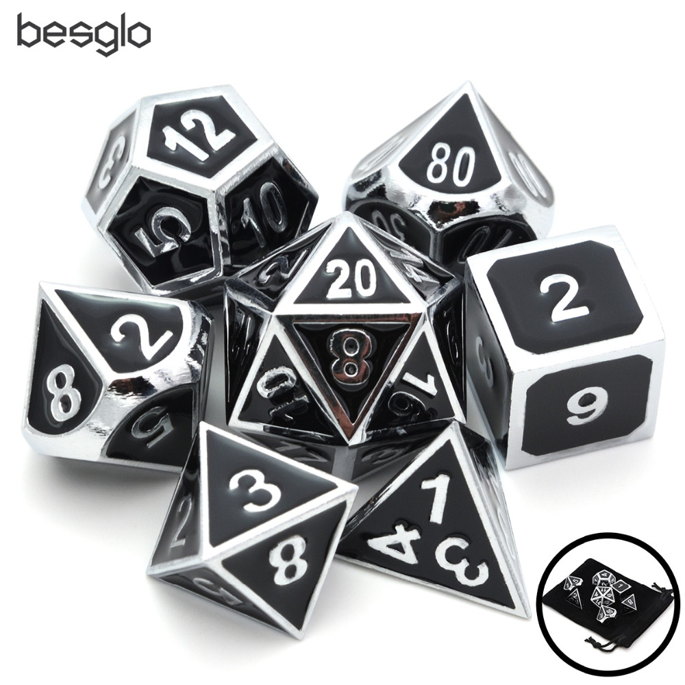 Set Of Solid Metal Dice-Shiny Sliver With Black Enamel-DnD Dice Set-Polyhedral Dice Set-RPG Dice Set For RPG Games