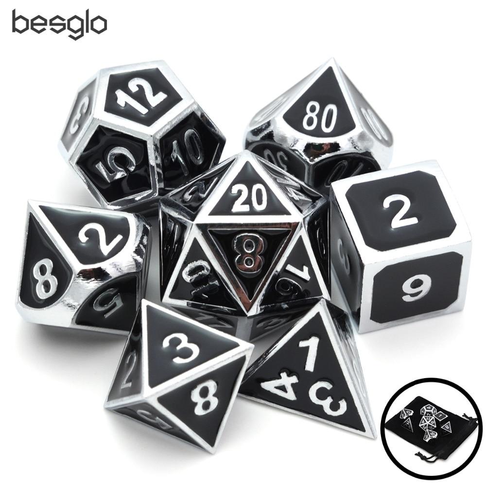 Set Of Solid Metal Dice-Shiny Sliver With Black Enamel-DnD Dice Set-Polyhedral Dice Set-RPG Dice Set For RPG Games