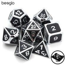 Набор цельных Металлических Кубиков-Сверкающее серебро с черной эмалью-игральные кости DND набор-многогранные кубики набор-RPG кости набор для RPG игры