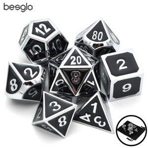 Set of Solid Metal Dice-Shiny Sliver with Black Enamel-DnD Dice Set-Polyhedral Dice Set-RPG Dice Set for RPG Games(China)